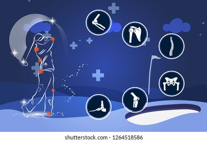 Medical infographic orthopedic. Human silhouette in Golf motion injury of elbow, shoulder, spine, pelvis, knee and foot.Radiology orthopedic, hospital, joint, sport, diagnostics. Vector illustration