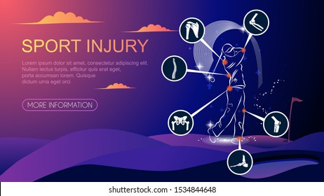 Medical infographic orthopedic. Human silhouette in Golf motion injury of elbow, shoulder, spine, pelvis, knee, and foot.Radiology orthopedic, hospital, joint, sport, diagnostics. Vector illustration