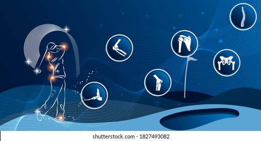 Medical infographic orthopedic. Human silhouette in golf motion injury of elbow, shoulder, pelvis, knee, and foot. Radiology orthopedic, hospital, joint, sport, diagnostics. Vector illustration