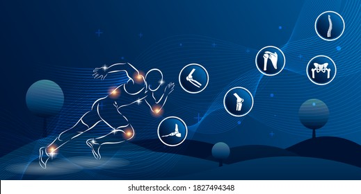 Medical infographic orthopedic. Human silhouette in running motion injury sport. Radiology orthopedic, hospital, joint, diagnostics. Vector illustration