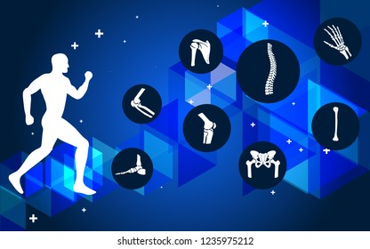 Medical infographics orthopedic anatomy. Human silhouette in motion with marked spine, pelvis, knee, foot, shoulder, elbow, hand, humerus bones and joints. Orthopedics medical. Vector illustration.