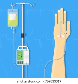 Medical Infusion Pump IV Intravenous Therapy Treatment Chemotherapy Patient Infuse Medication Nutrient Clinical Hospital Controlled Equipment Electronic Device Technology