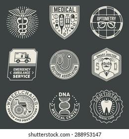 Medical Insignias Logotypes Template Set. Line Art Vector Elements.