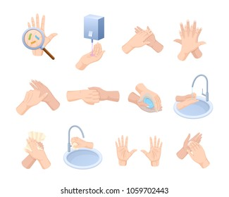 Medical instruction stages proper care of hands, washing, preventive maintenance of bacteria, healthcare, health. Hand washing, disinfection, sanitary hygiene, hygiene prevention. Vector illustration