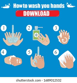 Medical instructions how to wash your hands. Step-by-step instructions how should wash your hands to stay healthy. Clean hands keep you healthy.