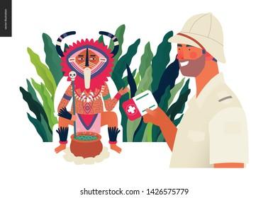 Medical insurance - medical assistance all over the world - modern flat vector concept digital illustration -a traveller applying to a shaman healer for medical help, part of insurance plan
