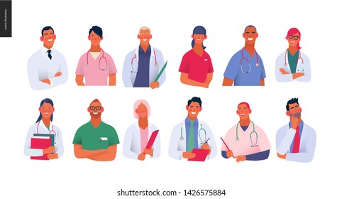 Medical insurance -best doctors -modern flat vector concept digital illustration - medical specialists - doctors and nurses portraits, team of doctors concept, medical office or laboratory