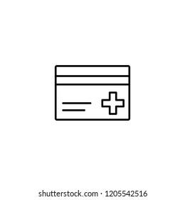 medical insurance card line black icon on white background