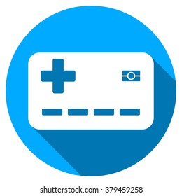 Medical Insurance Card long shadow icon. Style is a light flat symbol with rounded angles on a blue round button.