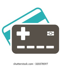 Medical Insurance Cards vector icon. Style is bicolor flat symbol, grey and cyan colors, rounded angles, white background.
