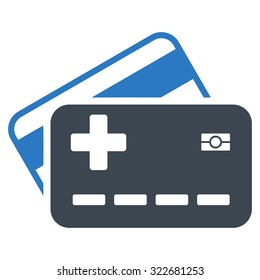 Medical Insurance Cards vector icon. Style is bicolor flat symbol, smooth blue colors, rounded angles, white background.