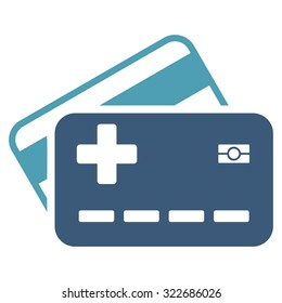 Medical Insurance Cards vector icon. Style is bicolor flat symbol, cyan and blue colors, rounded angles, white background.