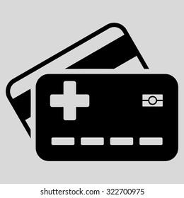 Medical Insurance Cards vector icon. Style is flat symbol, black color, rounded angles, light gray background.
