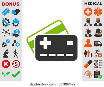 Medical Insurance Cards vector icon with bonus. Style is bicolor flat symbol, eco green and gray colors, rounded angles, white background.