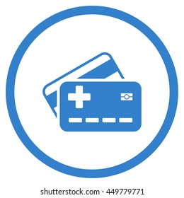 Medical Insurance Cards vector icon. Style is flat circled symbol, cobalt color, rounded angles, white background.