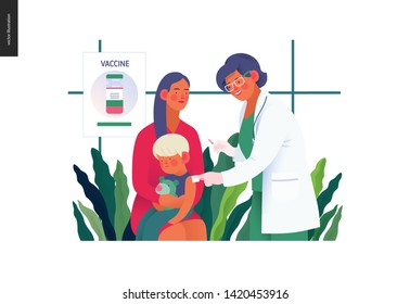 Medical insurance -childhood immunization, vaccination -modern flat vector concept digital illustration - pediatrician vaccinating a toddler sitting on his mothers knees, medical office or laboratory