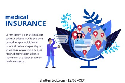 Medical insurance concept in flat style. Globe with doctor tag and man who need first aid. Online medicine concept. Vector illustration for web banners, brochure cover design and flyer layout template
