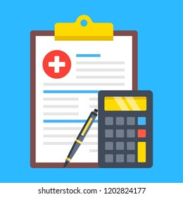 Medical insurance form, health insurance calculator, medical bill. Cost calculation concepts. Clipboard with document, calculator and pen. Modern flat design. Vector illustration