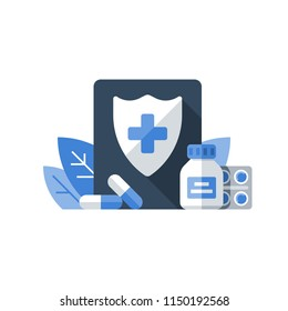Medical insurance, health care policy, shield and cross, medicine products, hospital services, preventive check up, pharmacology illustration, vector flat icon