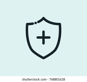 Medical insurance icon line isolated on clean background. Medical insurance icon care concept drawing insurance icon in modern style vector illustration for your web site mobile logo app UI design