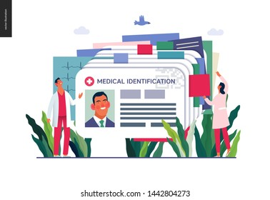 Medical insurance illustration- medical id card, health card -modern flat vector concept digital illustration - a plastic identification card as medical records file metaphor