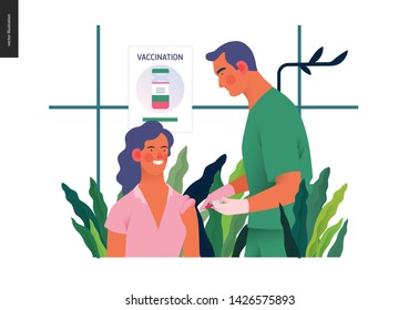 Medical insurance - immunization, vaccination schedule -modern flat vector concept digital illustration - a therapist vaccinating a patient, medical office or laboratory