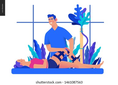 Medical insurance - orthopedic and traumathology -modern flat vector concept digital illustration - an orthopaedist attaching the orthosis to a lying female patient, medical office or laboratory