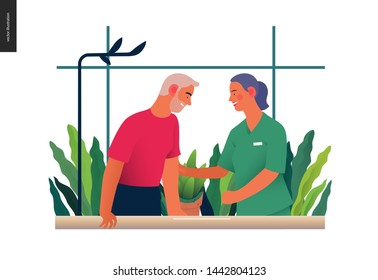 Medical insurance - rehabilitation and physiotherapy -modern flat vector concept digital illustration -physiotherapist helps patient walking using training parallel bars, medical office, laboratory