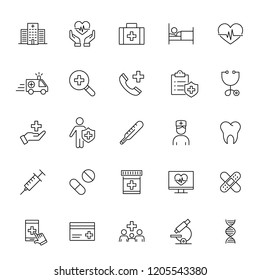 medical insurance service; health care; line black icons set on white background