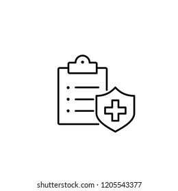 medical insurance symbol; clipboard with cross; line black icon on white background