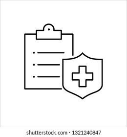 medical insurance symbol;clipboard with cross;line black icon on white background