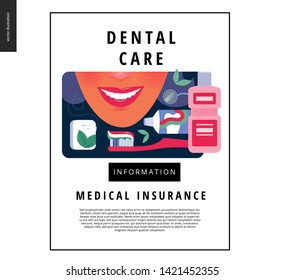 Medical insurance template - dental care - modern flat vector concept digital illustration of helthy teeth - smailing woman with mint dental floss, tothbrush, toothpaste, mouthwash, dentist tool