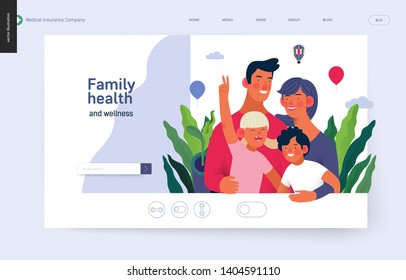Medical insurance template -family health and wellness -modern flat vector concept digital illustration of a happy family of parents and children, family medical insurance plan