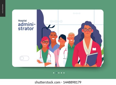 Medical insurance template -hospital administrator -modern flat vector concept digital illustration - a female hospital administrator with a team of doctors concept, medical office or laboratory
