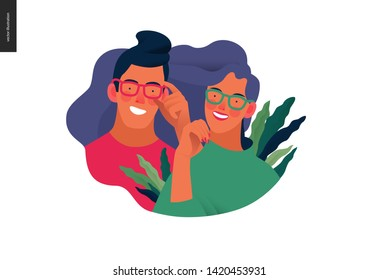 Medical insurance template - opticians shop advertising poster panel - modern flat vector concept digital illustration of a young couple wearing glasses - commercial banner illustration
