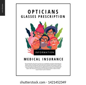 Medical insurance template - opticians shop advertising poster panel - modern flat vector concept digital illustration of young people wearing glasses portraits - commercial banner illustration