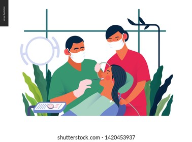 Medical insurance template - routine dental checkups - modern flat vector concept digital illustration of a dental procedure - patient, dentist checking teeth and a nurse, the dental office or