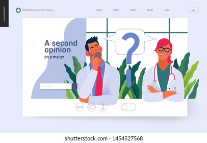 Medical insurance template -second opinion on a matter -modern flat vector concept digital illustration of two doctors and a question mark, second medical opinion metaphor, medical insurance plan