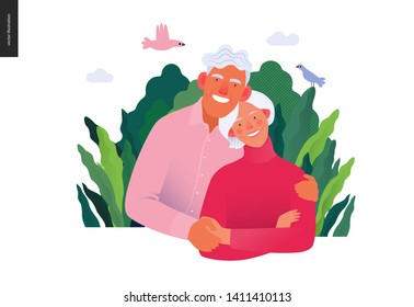 Medical insurance template -senior citizen health plan -modern flat vector concept digital illustration of a happy elderly couple, medical insurance plan