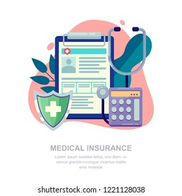 Medical insurance vector flat illustration. Medicine and healthcare concept.
