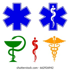 Medical international symbols set. Star of life, staff of Asclepius, caduceus, bowl with a snake. Vector illustration.