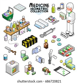 Medical items collection, including pills in various shapes and sizes, pill boxes, clipboard, tube, syringe, bottles and a pharmacist (isometric vector illustration)
