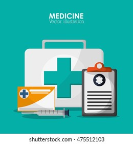 medical kit checklist health care hospital icon. Colorful design. Vector illustration