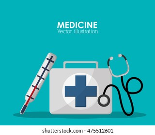 medical kit stethoscope thermometer health care hospital icon. Colorful design. Vector illustration