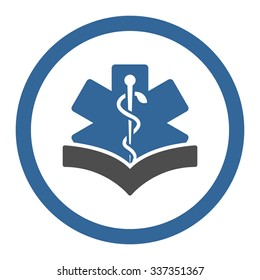 Medical Knowledge vector icon. Style is bicolor flat rounded symbol, cobalt and gray colors, rounded angles, white background.