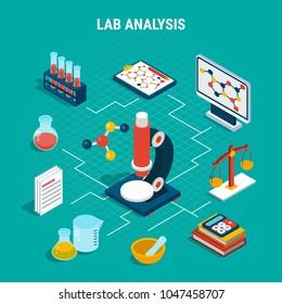 Medical lab analysis equipment isometric flowchart on blue background 3d vector illustration