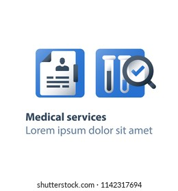 Medical laboratory analysis, liquid sample test result, magnifying glass and lab tubes, chemistry research and education, pharmacology concept, vector flat icon