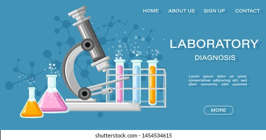 Medical Laboratory Conceptual Vector Illustration. Chemistry tubes. Reasearch, testing, clinique, studies in chemistry, physics, biology Online page template