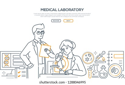 Medical laboratory - modern line design style banner on white background with copy space for text. Male, female workers making tests, looking through microscope. Images of flasks, pipettes, computer