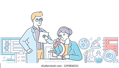 Medical laboratory - modern line design style illustration on white background. A composition with male, female workers making tests, looking through microscope. Images of flasks, pipettes, computer